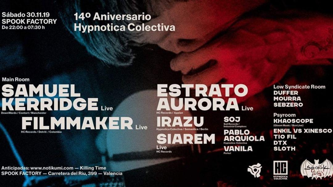 Cartel del evento 14º Aniversario HC, Samuel Kerridge, Filmmaker, Estrato Aurora. Spook Factory