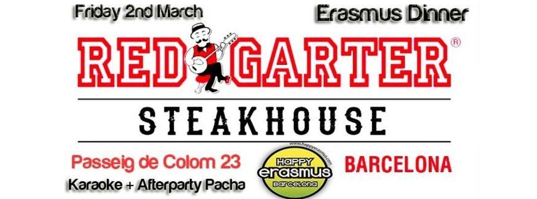 2nd March: Erasmus Dinner with Karaoke in Red Garter + Afterparty in Pacha event cover