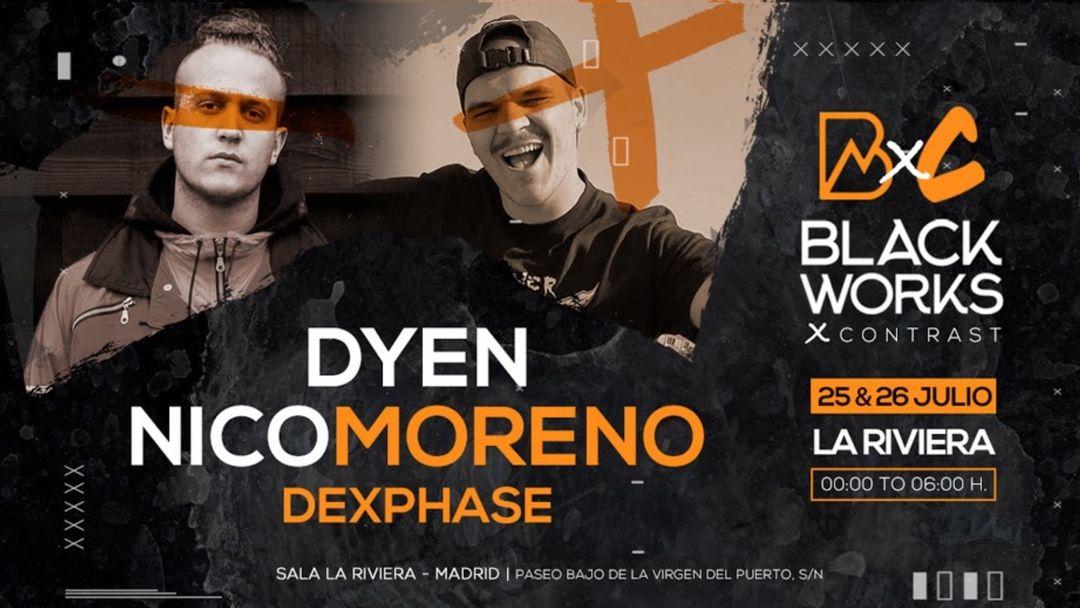 Cartel del evento 2nd Round: Blackworks x Contrast: Dyen + Nico Moreno