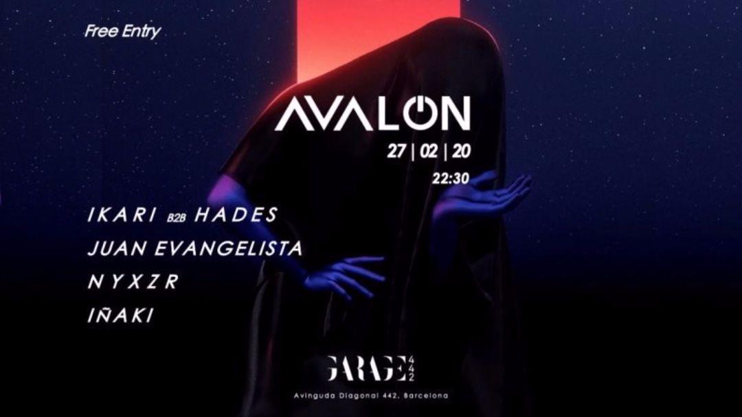 Cartel del evento Avalon #7 [Ikari b2b Hades, Juan Evangelista, nyxzr, Iñaki]