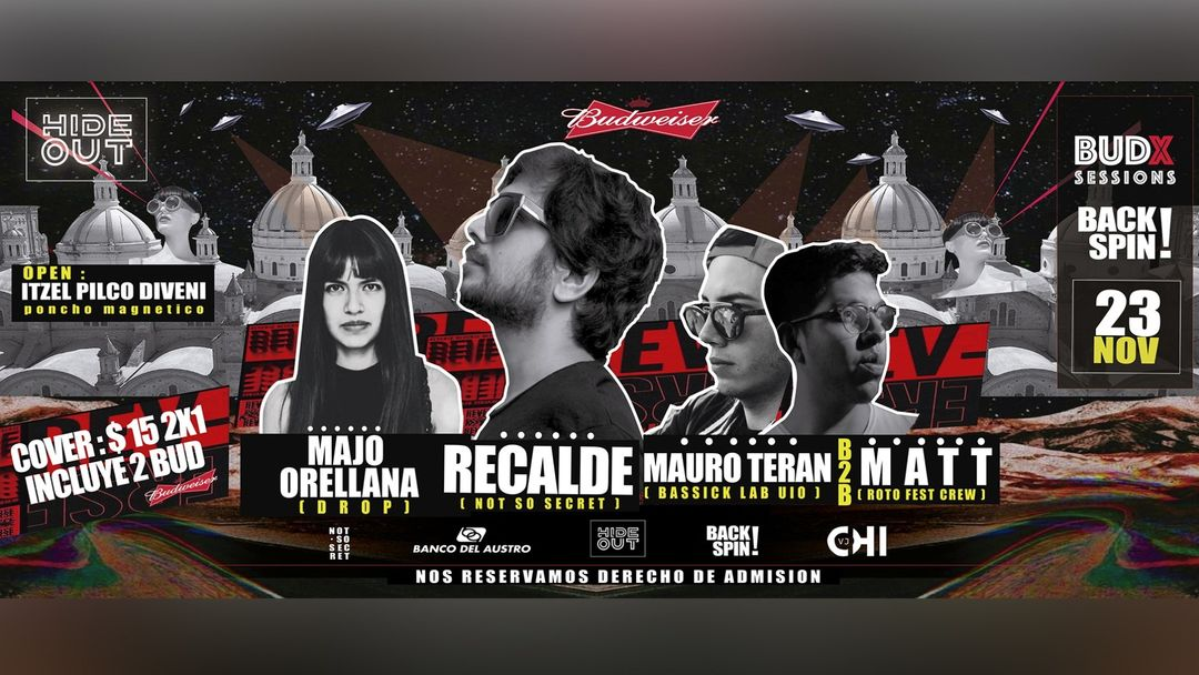 Cartel del evento Backspin w/ Recalde / M. Teran B2B Matt / Majo Orellana