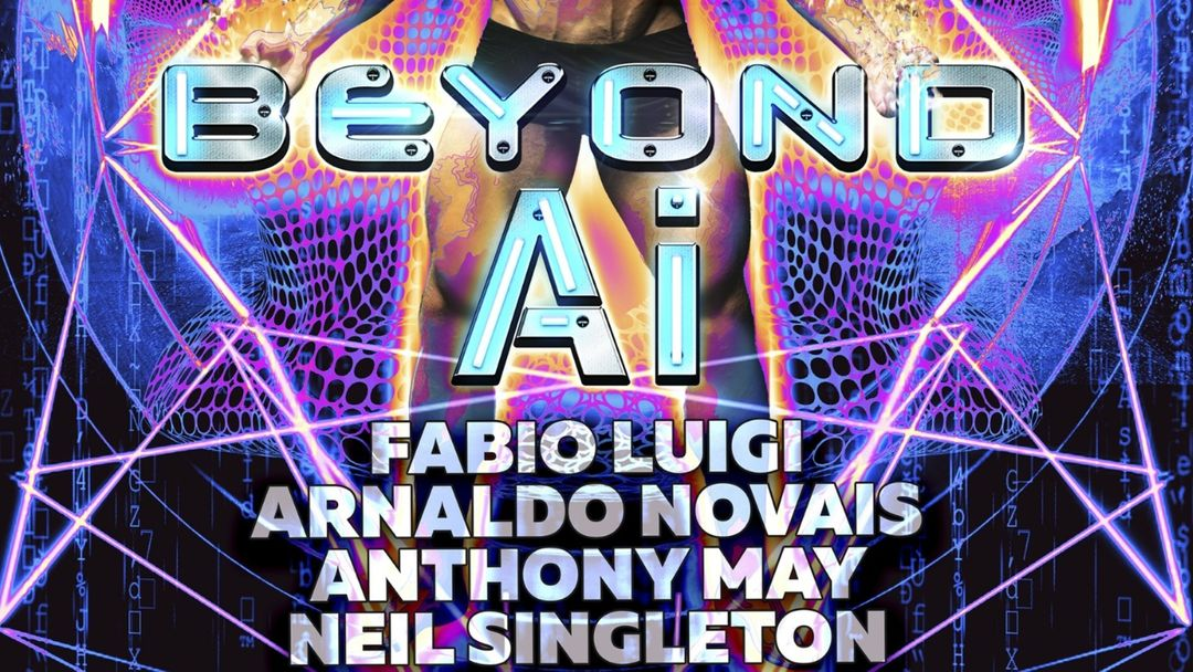 "Cartel del evento BEYOND ""AI"" (MEN ONLY) - Official Event Maspalomas Pride 2021"