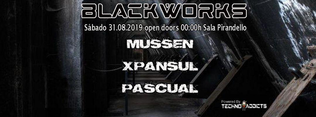 Cartel del evento BLACKWORKS  sábado 31 agosto