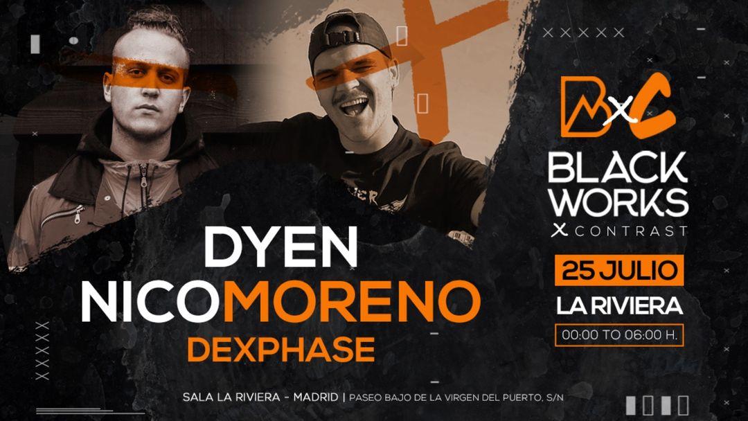 Cartel del evento Blackworks x Contrast: Nico Moreno + Dyen