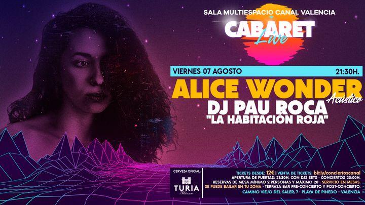 "Cover for event: CABARET Live · ALICE WONDER ACÚSTICO & DJ PAU ROCA ""LA HABITACIÓN ROJA"""