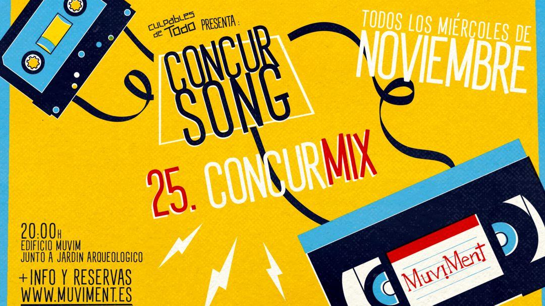 Cartel del evento Concurmix · Un quiz sobre música al aire libre