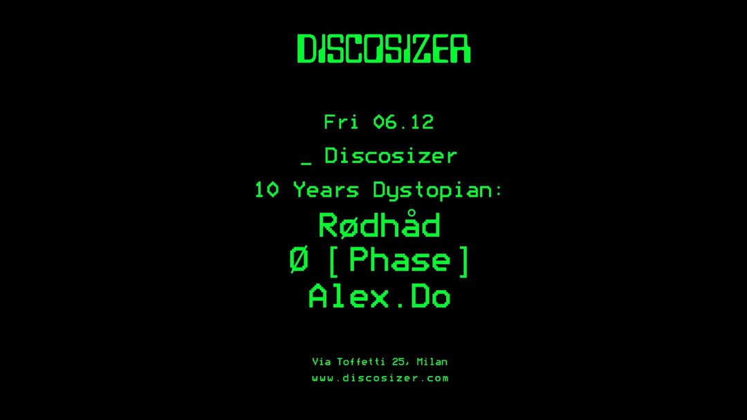 Copertina evento Discosizer _ 10 years Dystopian
