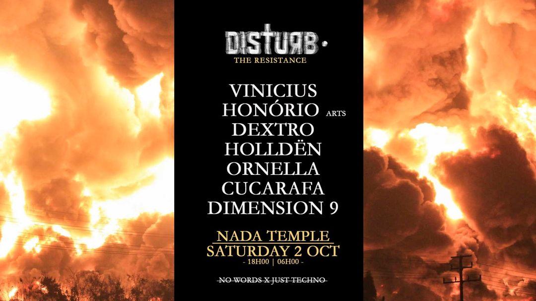 Cartel del evento Disturb • The resistance w/ Vinicius Honorio + Dextro
