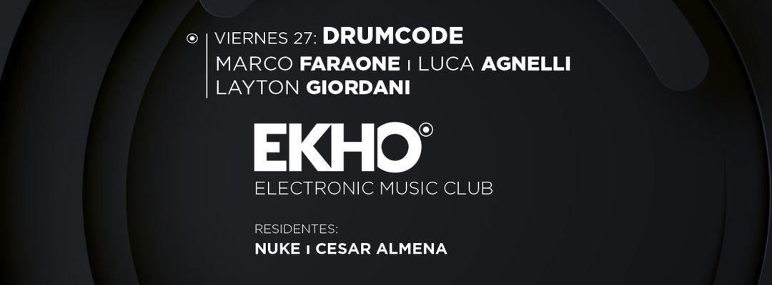 DRUMCODE: Marco Faraone, Luca Agnelli y Layton Giordani-Eventplakat
