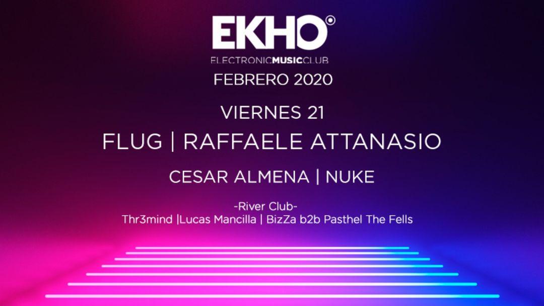 Cartel del evento EKHO w/ Flug & Raffaele Attanasio