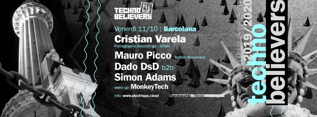 Cartell de l'esdeveniment Electrique Techno Believers Barcolana - w/ Cristian Varela