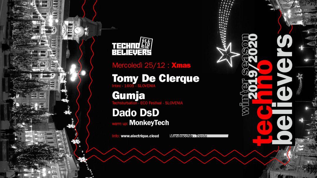 Cartel del evento Electrique Techno Believers Xmas - w/ Tomy DeClerque & Gumja