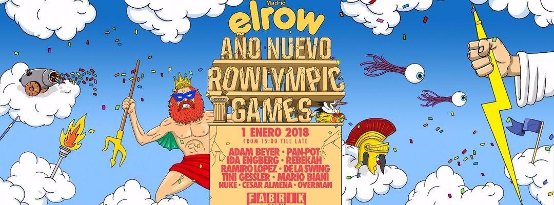 Cartel del evento Elrow Año Nuevo Rowlympic Games   Adam Beyer, Pan-Pot, Ida Engberg & Rebekah