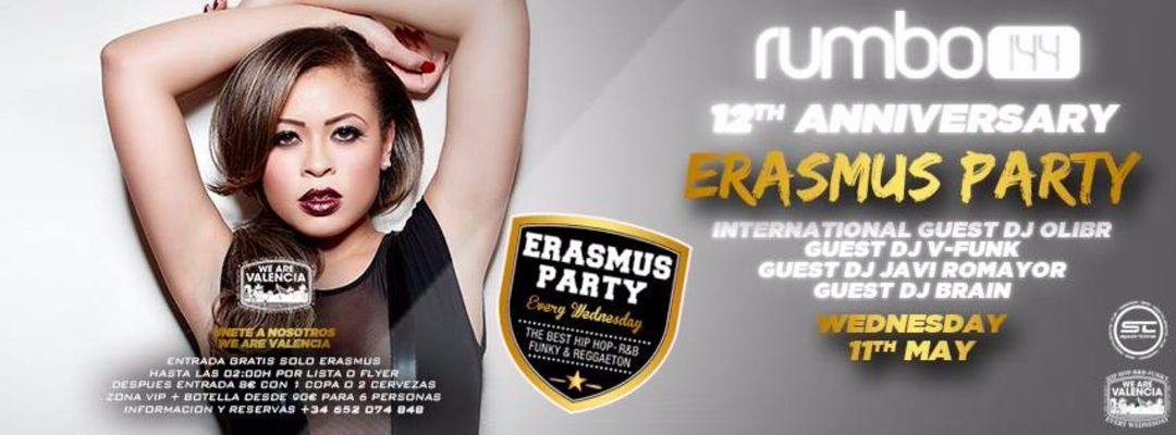 Cartel del evento Erasmus Party: 12th Anniversary