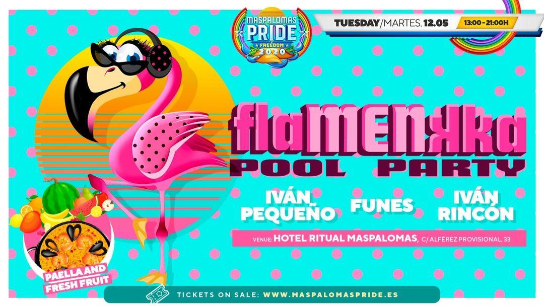 Cartel del evento flaMENkka Brunch - Pool Party - Official Event Maspalomas Pride 2021