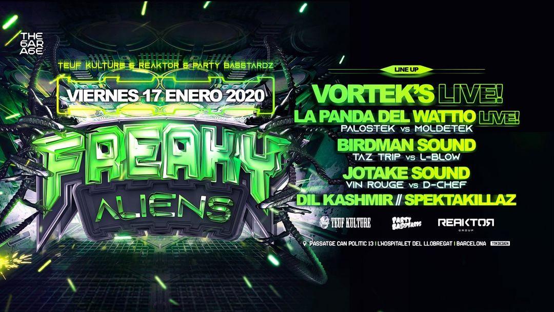 Cartel del evento Freaky Aliens Present: Vortek's live en Barcelona!