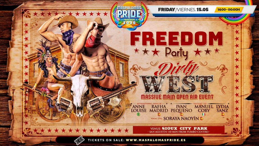 Cartel del evento FREEDOM Party - DIRTY WEST Massive Main Open-air Event - Maspalomas Pride 2021