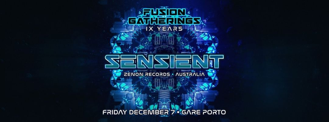 Cartel del evento Fusion Gatherings IX YEARS - ZENON TAKEOVER - SENSIENT + JAAKKO + GRUB