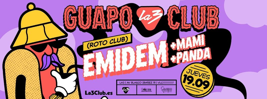 GUAPO CLUB: EMIDEM (ROTO CLUB) + PANDA + MAMI event cover
