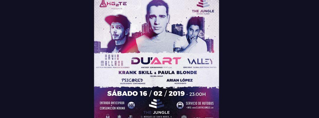 Cartel del evento Hg2Te Events (16/02/2019) Du'Art, David Mallada, Valley