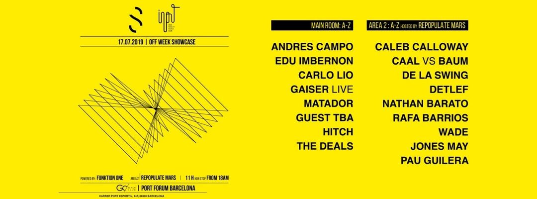 Cartel del evento INPUT meets SWING (Area 2 hosted by Repopulate Mars) - OFF week