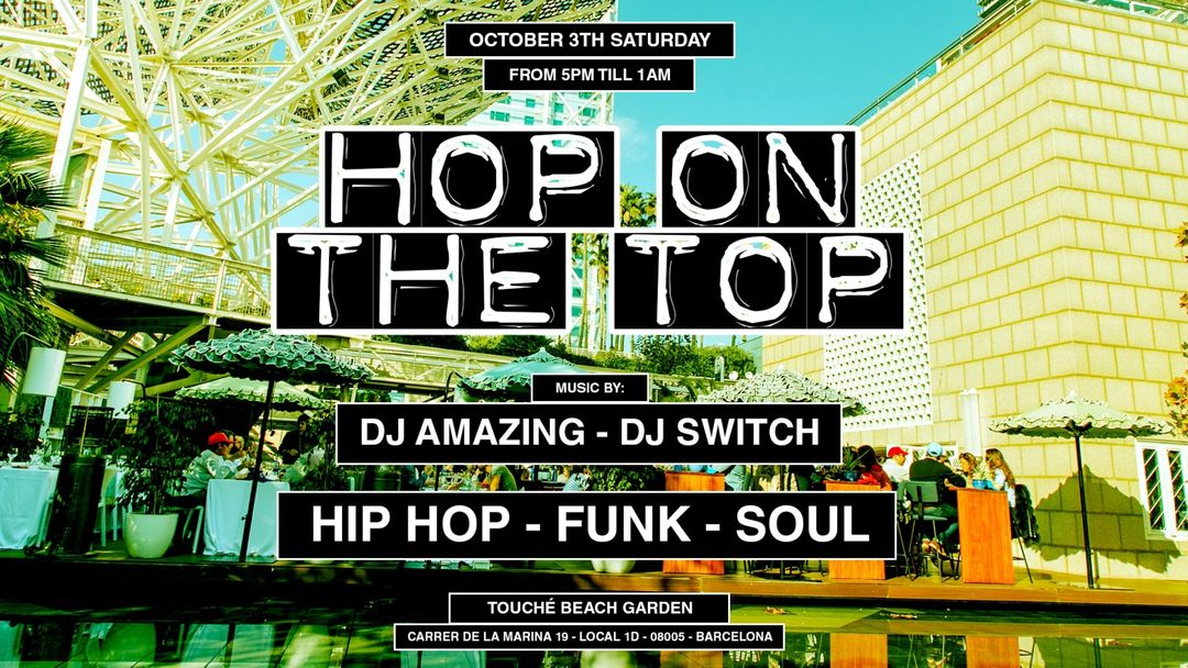Cartell de l'esdeveniment Jackies pres: Hop On The Top - Hip Hop, Funk & Soul
