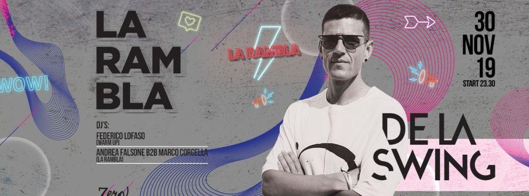 Cartel del evento LA RAMBLA presenta DE LA SWING
