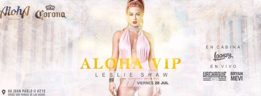 Cartell de l'esdeveniment LESLIE SHAW en Trujillo // ALOHA