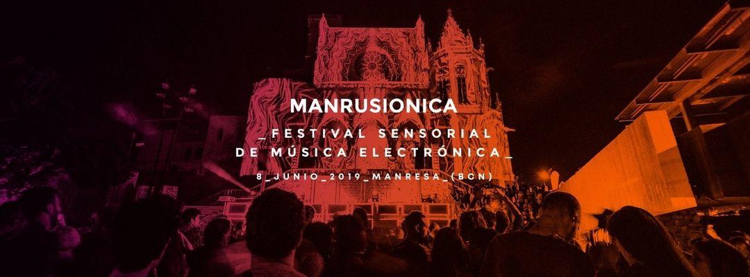 Cartell de l'esdeveniment MANRUSIONICA 2019_ Festival Sensorial de Música Electrónica