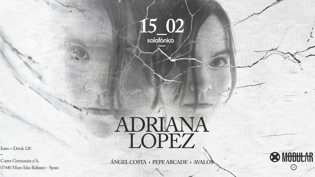 Cartel del evento Modulλr presenta: Adriana lópez + Ángel Costa + Pepe Arcade + Ávalos