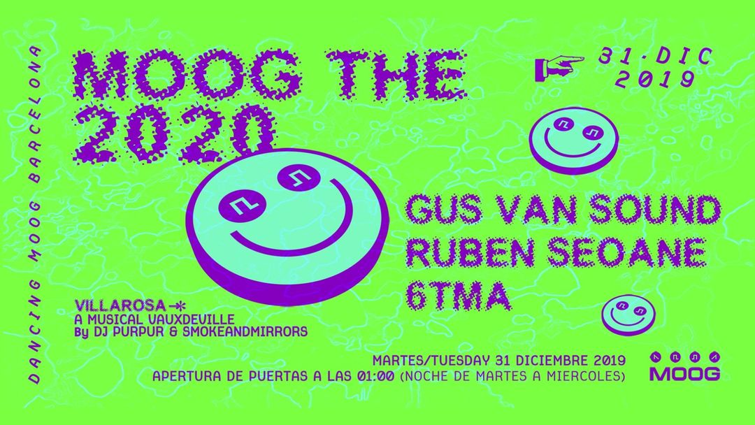 Cartel del evento MOOG THE 2020: GUS VAN SOUND + RUBEN SEOANE + 6TMA