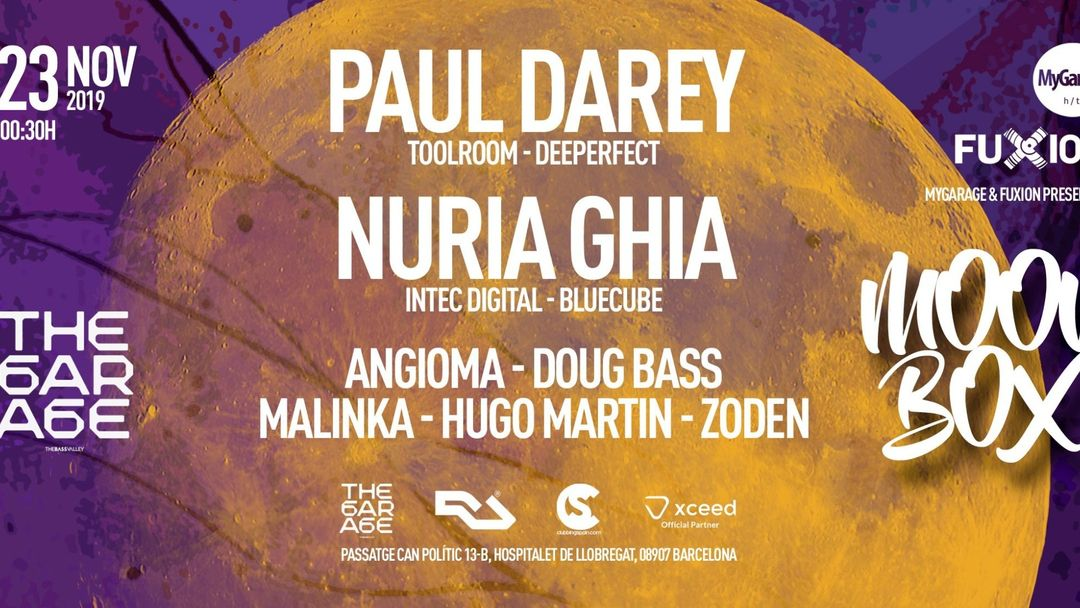 Cartel del evento MOON BOX at The Garage Of The Bass Valley