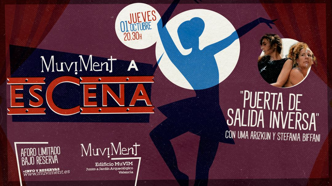 Cartel del evento Muviment a EsCena: Puerta de salida inversa con Uma Arizkun y Steffania Biffani