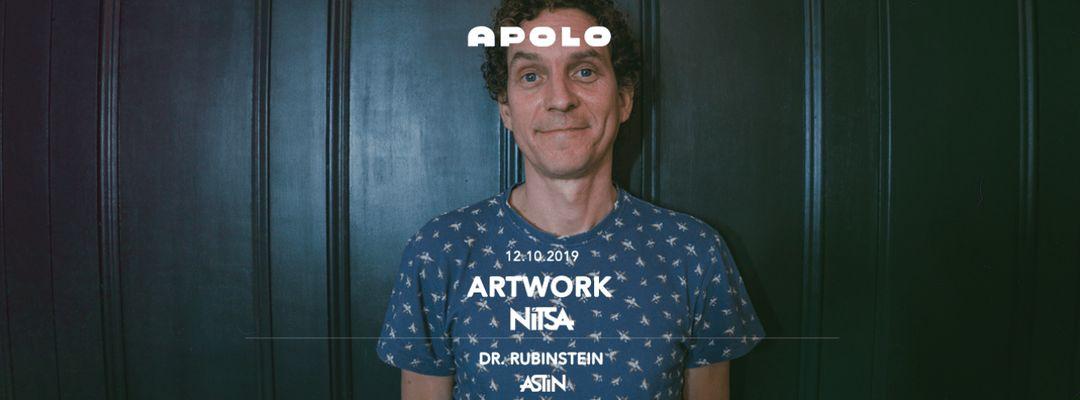 Cartel del evento Nitsa Club: Artwork | Astin Club: Dr. Rubinstein