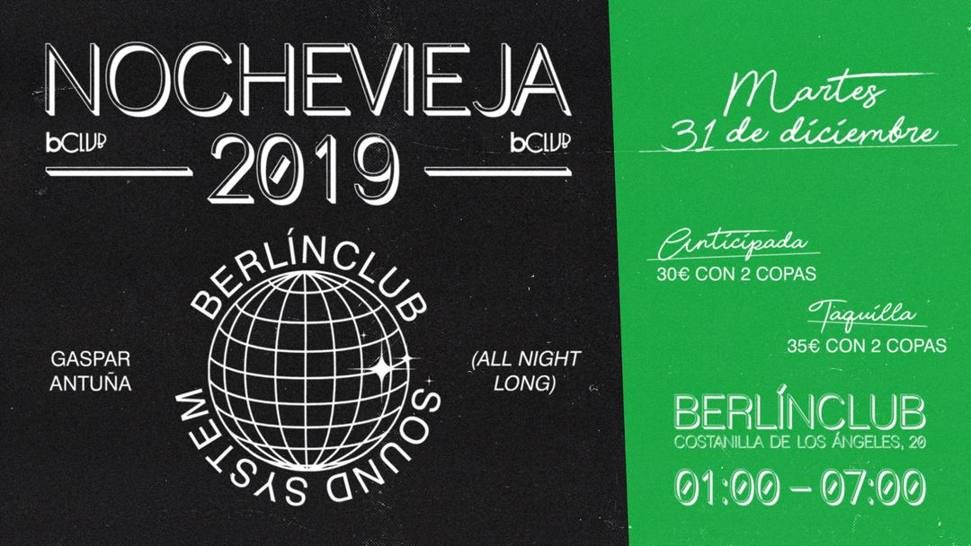 Cartel del evento Nochevieja 2019 en berlinClub