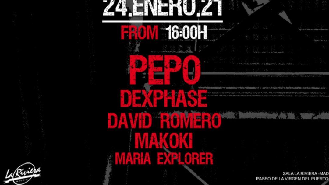 [NUEVA FECHA 24.01.2021] DJ Pepo + David Romero + Dexphase + Makoki event cover