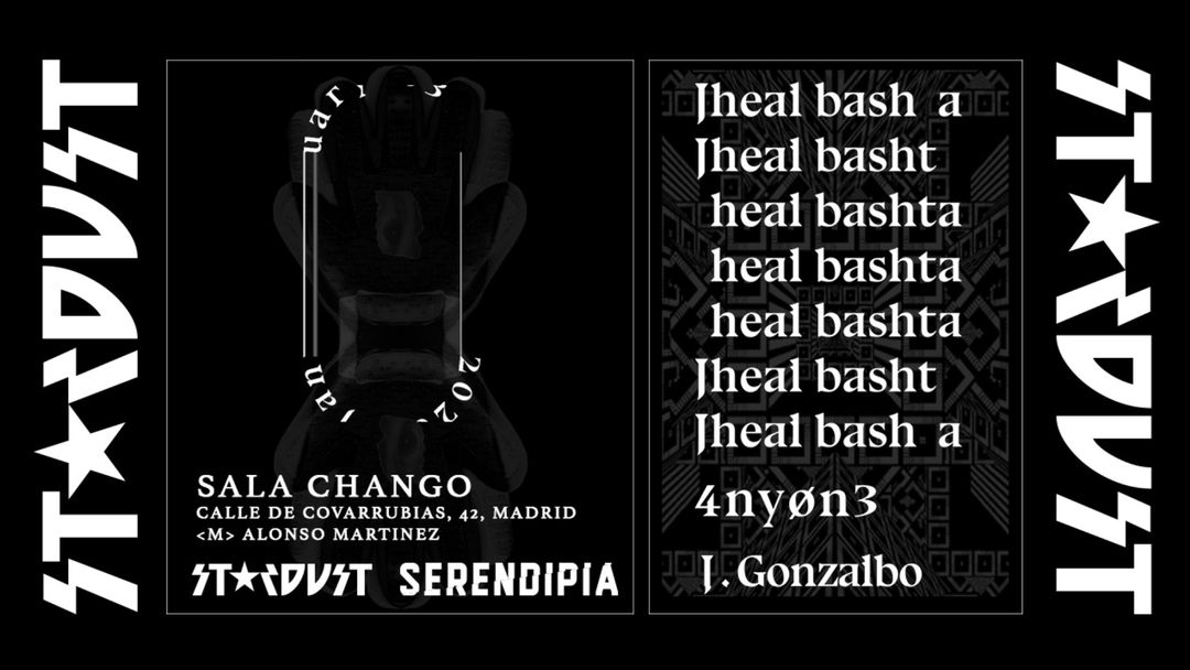 *NUEVA UBICACIÓN EN LA SALA CHANGÓ* Stardust invites: Jheal Bashta, J. Gonzalbo, 4ny0n3-Eventplakat