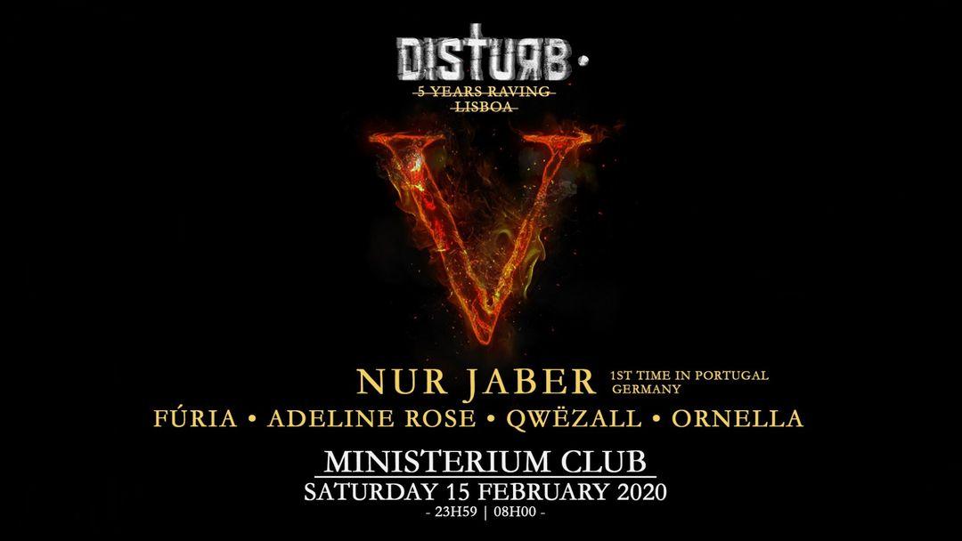 Nur Jaber | Disturb • 5 Years Raving II-Eventplakat