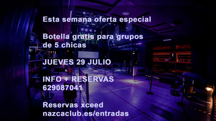 Cover for event: SALA NAZCA JUEVES 29 JULIO
