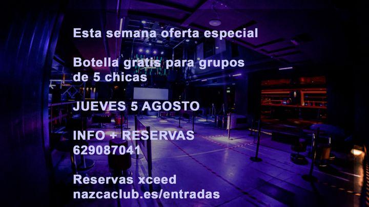 Cover for event: SALA NAZCA JUEVES 5 AGOSTO