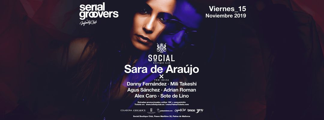 Sara de Araujo · Serial Groovers by Infinity Club-Eventplakat