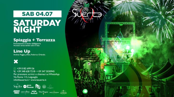 Cover for event: Saturday Night - La Suerte Summer Club - Sab 04/07