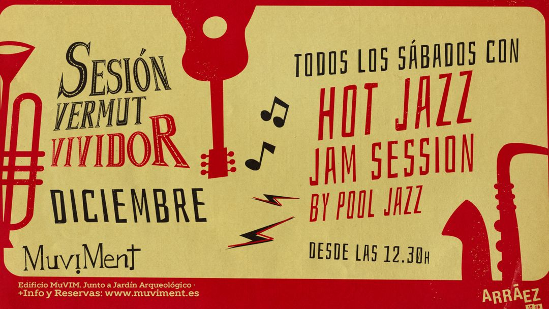 Cartel del evento Sesión Vermut Vividor con Hot Jazz Jam Session by Pool Jazz