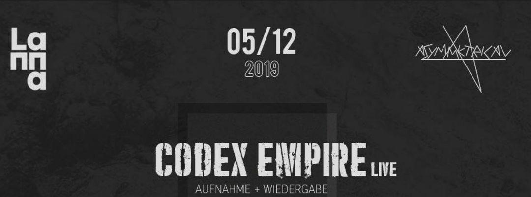 Cartel del evento Set Theory presenta Codex Empire live, German Affair live, NVA, Digital Vault.