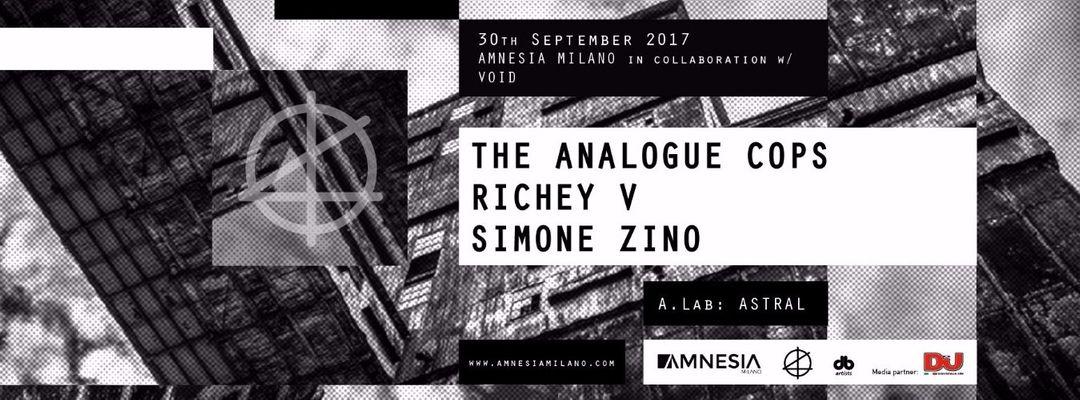 Cartel del evento The Analogue Cops, Richey V, Simone Zino
