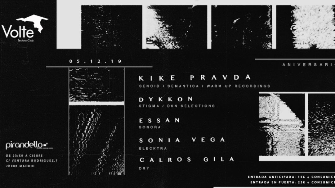 Cartel del evento Volte Techno-Club 1 Aniversario