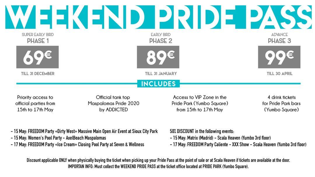 Cartel del evento WEEKEND PRIDE PASS Maspalomas Pride 2020