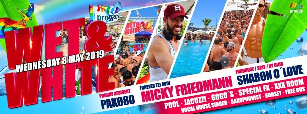 Cartel del evento WET & WHITE Pool Party By Progay - Official Event Maspalomas Pride 2019